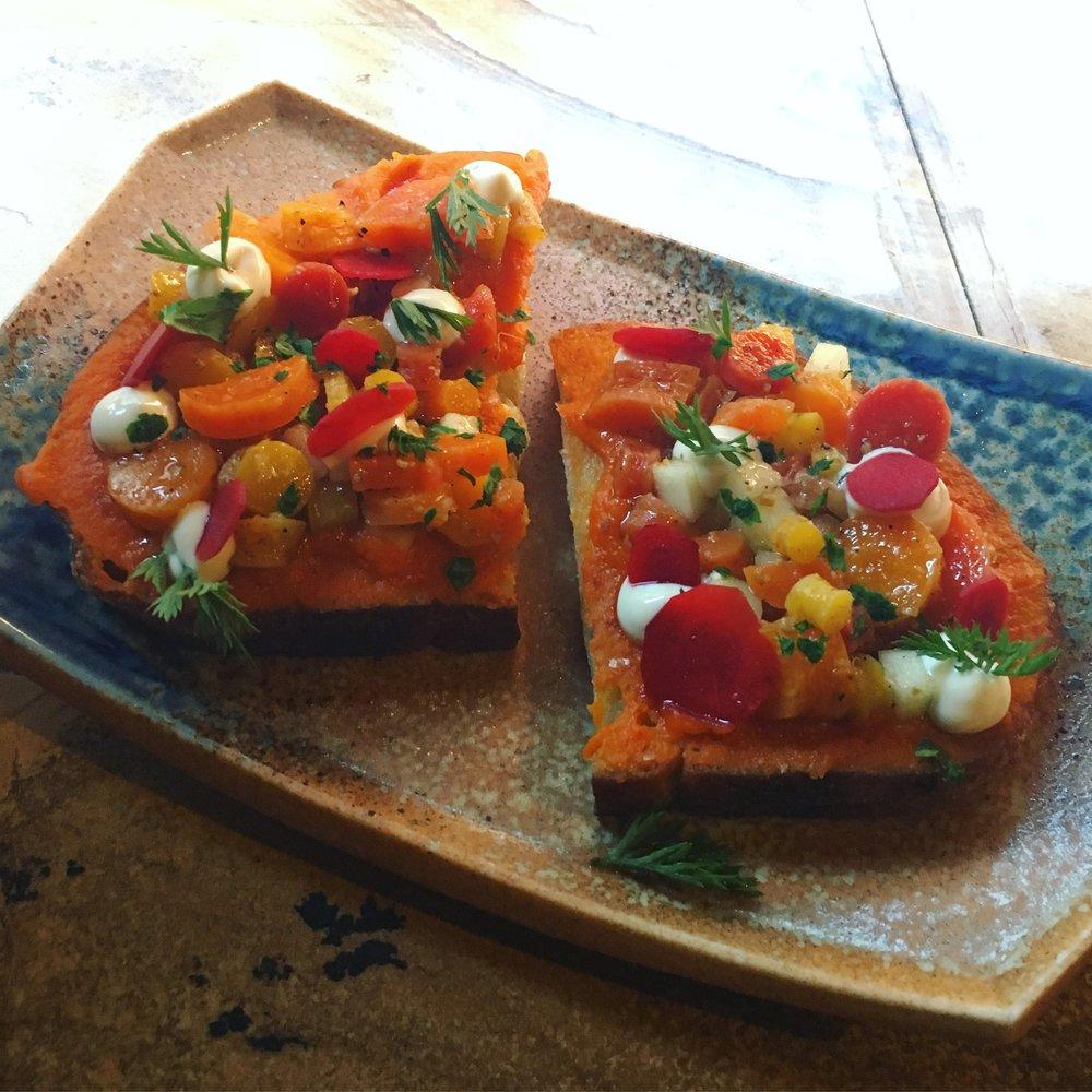 A carrot-based seasonal toast.