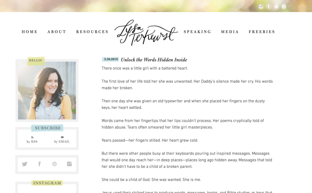 Lysa TerKeurst Website Design