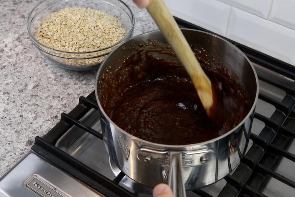 5. Mix peanut butter until dissolved. -