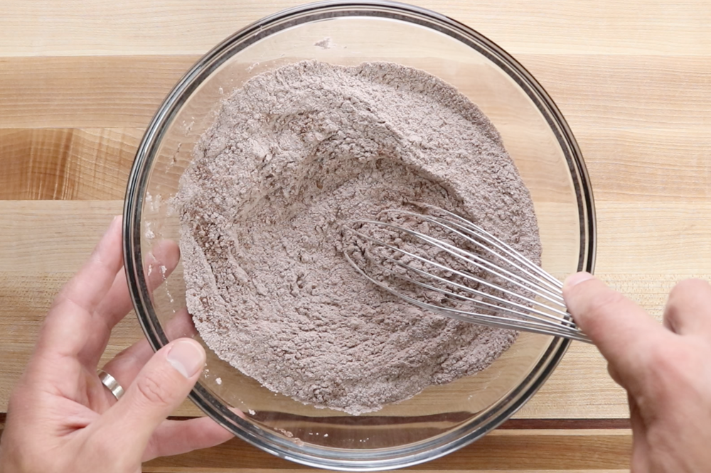 1.  Mix together flour, cocoa, espresso powder, salt and baking soda with a whisk and set aside. -