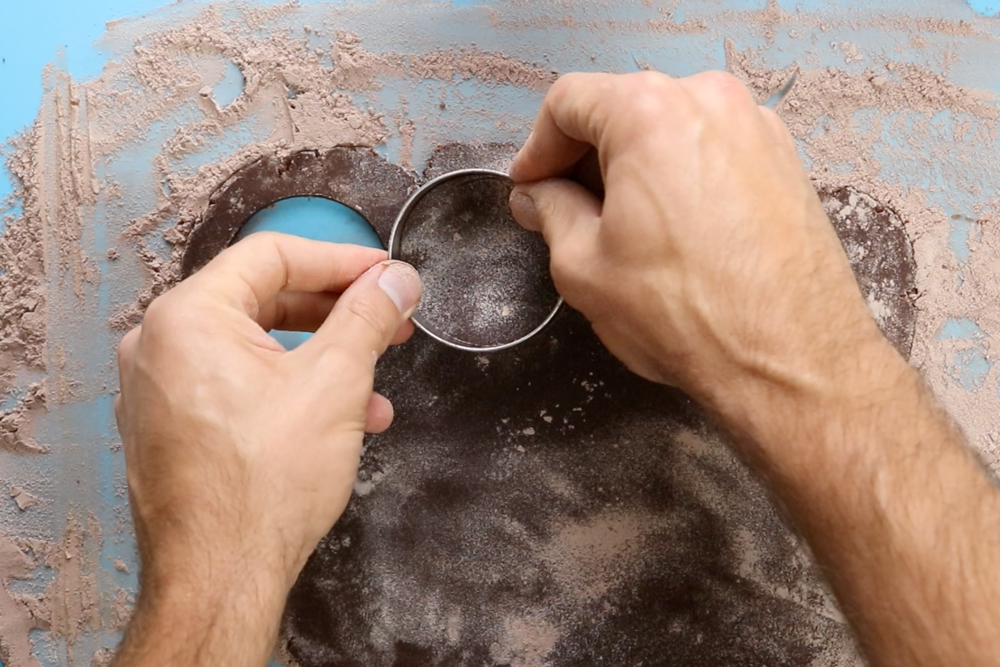 """8. Use a circular cookie cutter to cut out circles of dough.It is your choice how big to make the circles.I recommend around 2"""" to 3"""" cookie cutters. -"""