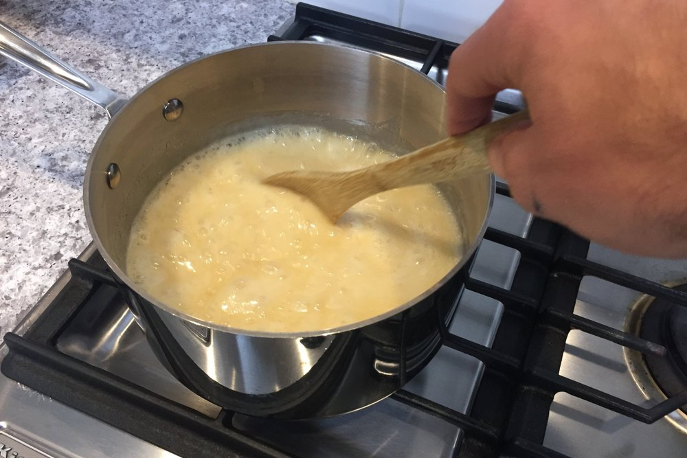 3. Cook over medium heat, stirring frequently. When it comes to a boil, stir constantly for 4 minutes. -