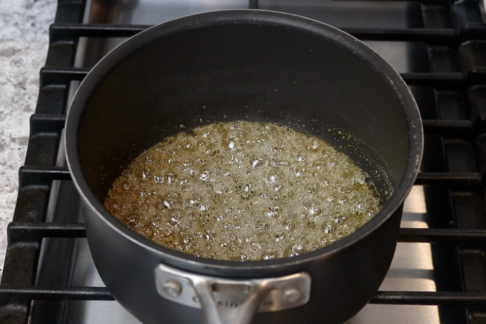 4. Turn heat up to medium-high.When mixture starts to turn golden brown turn off the heat and swish mixture around. -