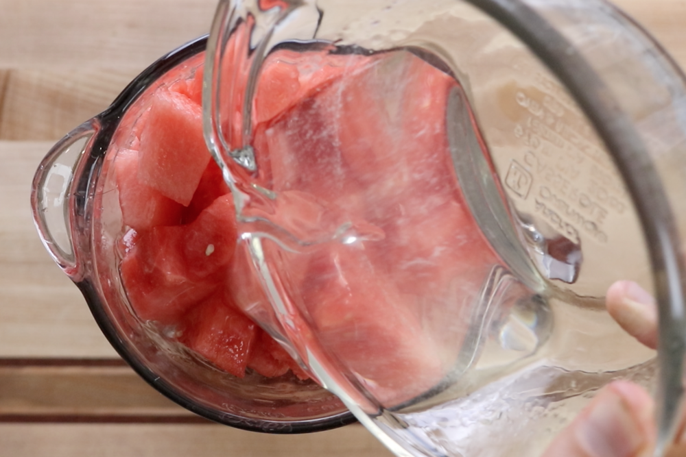 5.  In a blender add watermelon and simple syrup. Puree mixture.  -