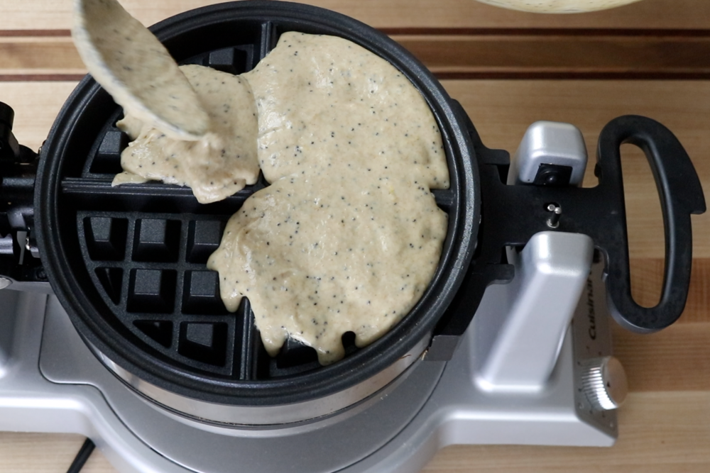 6. Measure a ½ cup of batter and pour onto the hot waffle iron.  -