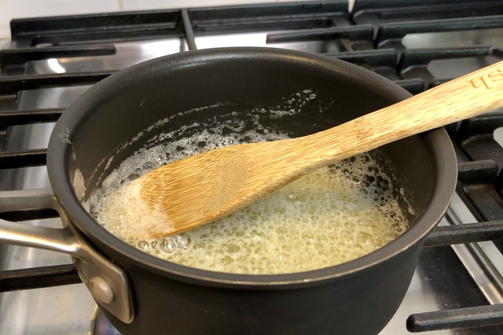 8. Melt butter in a small saucepan over medium-low heat about 3 minutes stirring constantly until butter turns golden brown. -