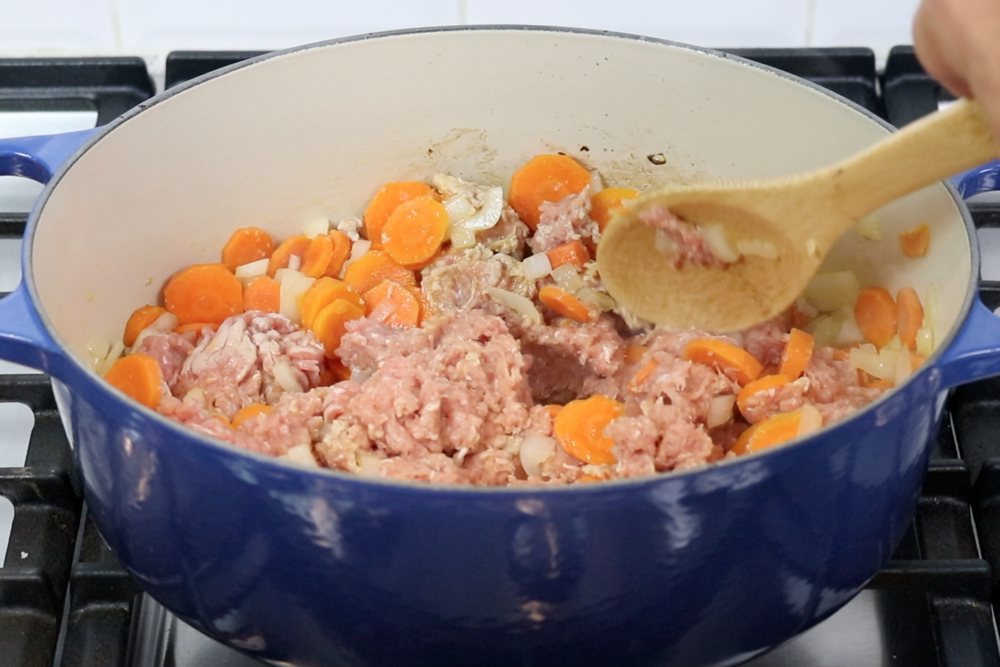 3. Lower heat to medium and add ground turkey. Cook for 5 more minutes, breaking meat into pieces. -