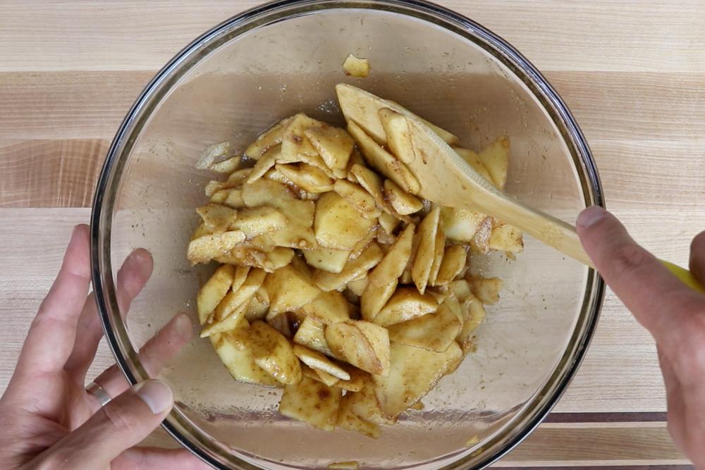 3. Stir until apples are fully coated. Set aside. -