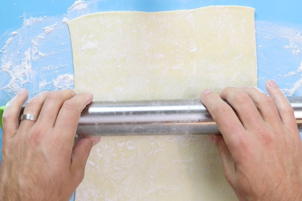 "5. On a clean and lightly floured surface…roll puff pastry into a 12"" x 9"" rectangular shape. -"