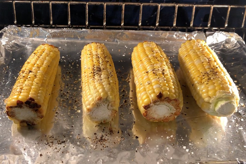 2. Roast the corn for 25 minutes turning every 5 minutes to cook evenly. -