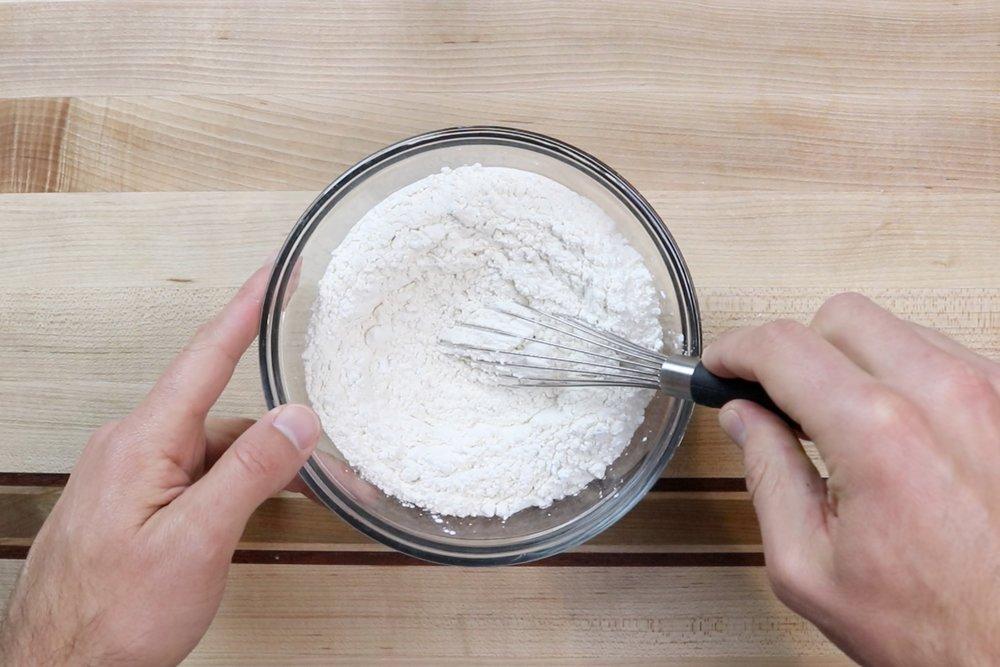 1. In a medium bowl, whisk together flour, cornstarch, and salt. Set aside. -