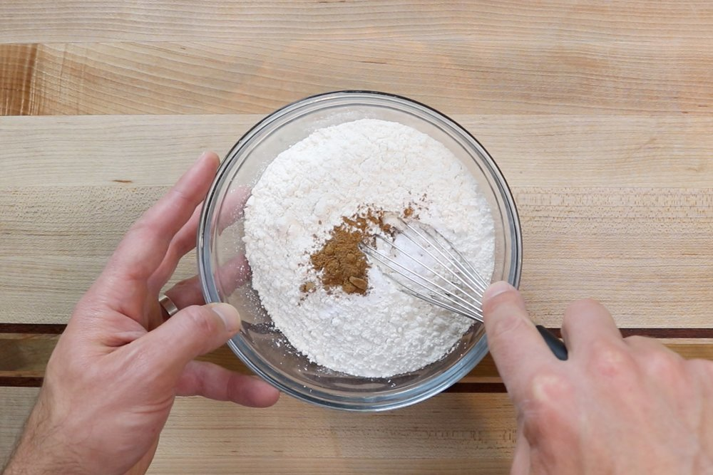 4. In another medium bowl, add flour, cornstarch, baking powder, baking soda, salt and nutmeg. Whisk until incorporated. Set aside. -