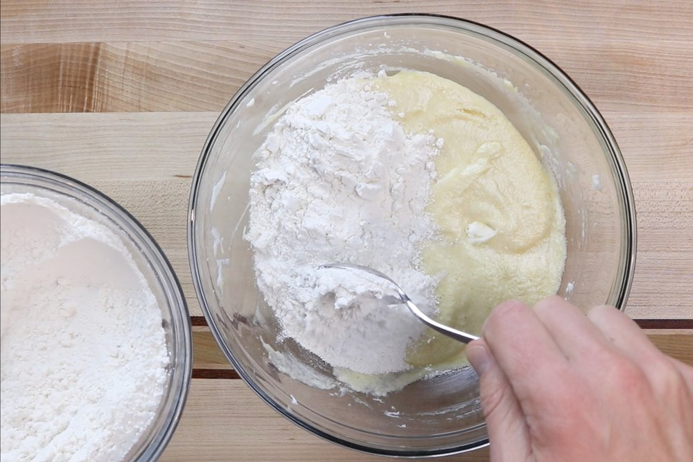 8. Add half of the flour mixture and mix until just combined. -