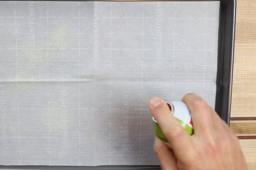 1. Pre-heat oven to 400 degrees and prepare a large baking sheet with parchment paper. Spray the pan lightly with cooking spray. -