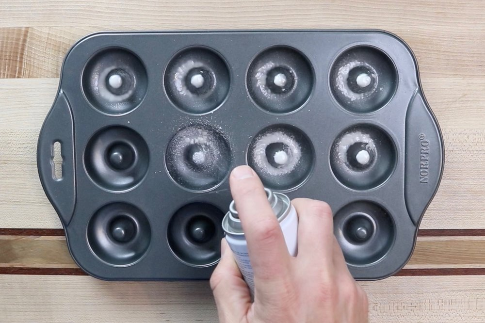 10.   Pre-heat oven to 350 degrees and grease a 12-count mini donut pan with baking spray. -