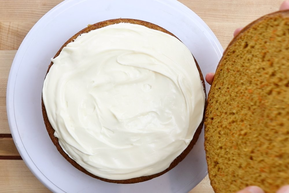 2. Repeat with the other cake layers. -