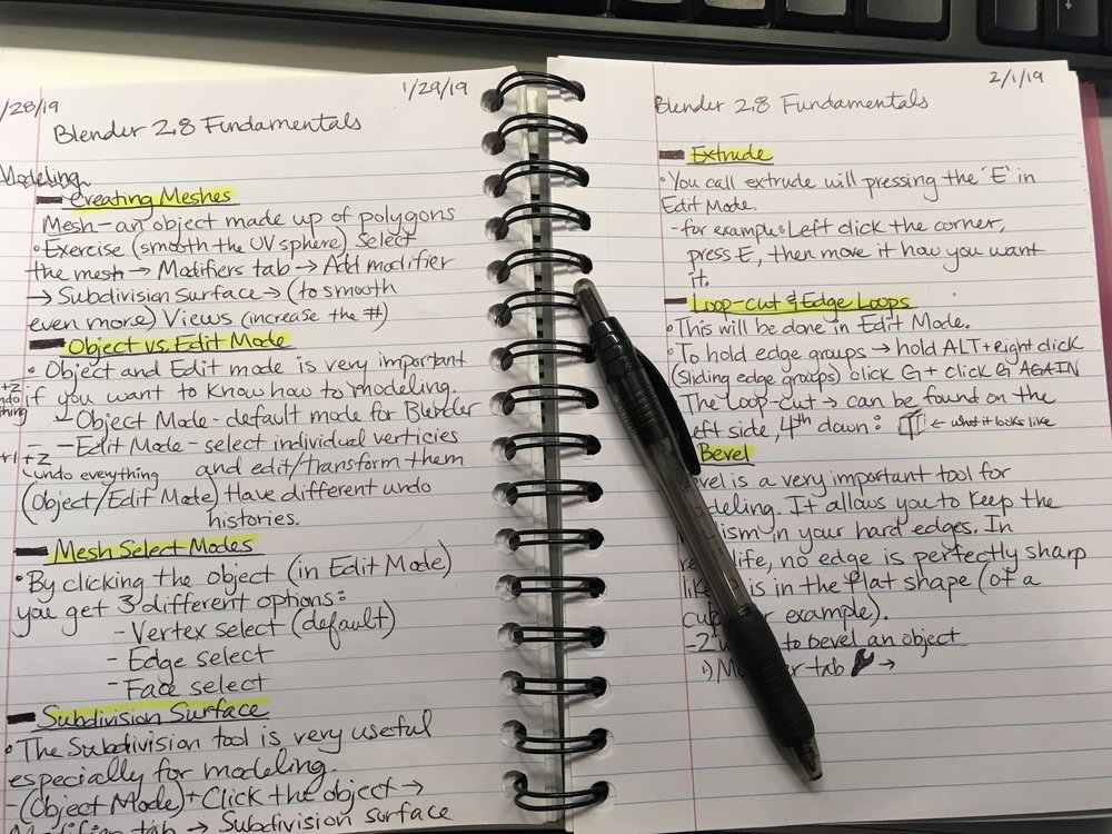 Picture of my notebook where I take notes on everything dealing with Blender 2.8 (beta).