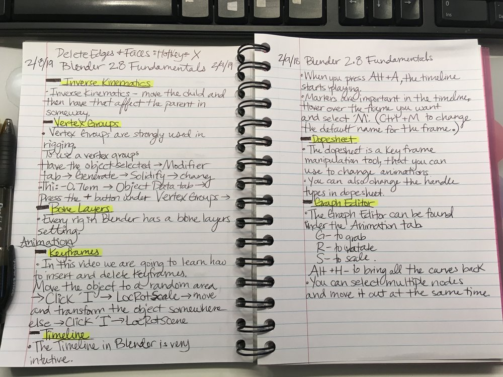 My notes for the final couple of videos of Blender Fundamentals.