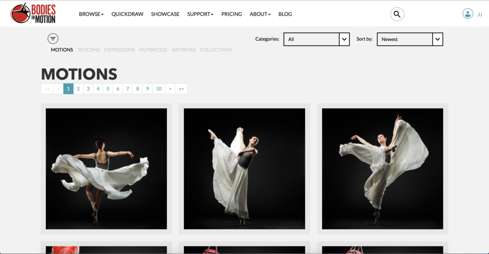 Screen shot of the Bodies in Motion website.