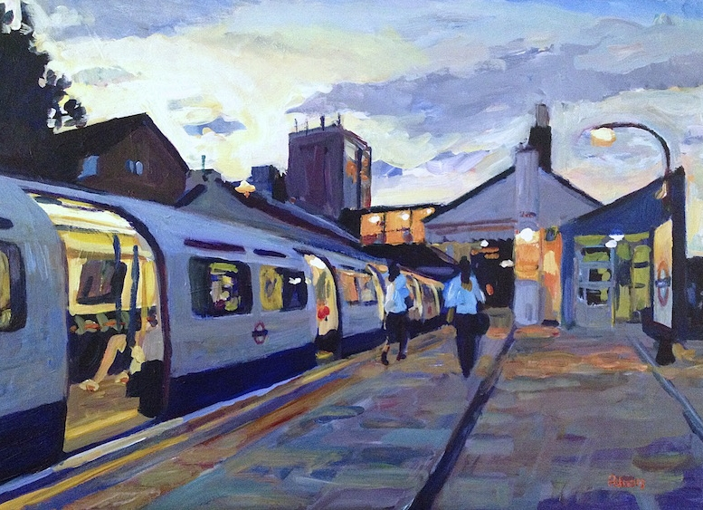 Boston Manor Station, Evening Commuters  2013 acrylic on board 50 x 70 cm