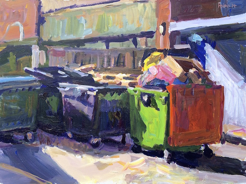Wheelie Bins  2014 acrylic on board 30 x 40 cm
