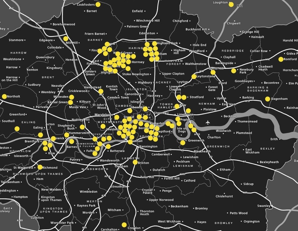 Locations in the capital where I have painted since 2012.