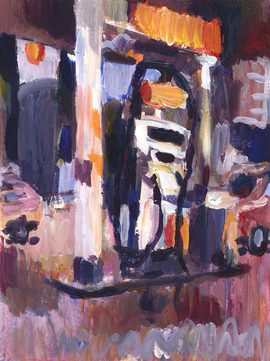 Shell Station  1996 acrylic on paper, 22 x 15 cm