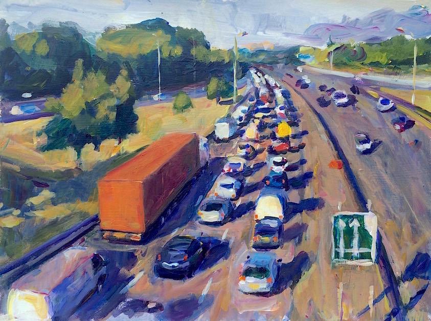 Tailback on A406 (North Circular Road) 2015 acrylic on board, 30 x 40 cm