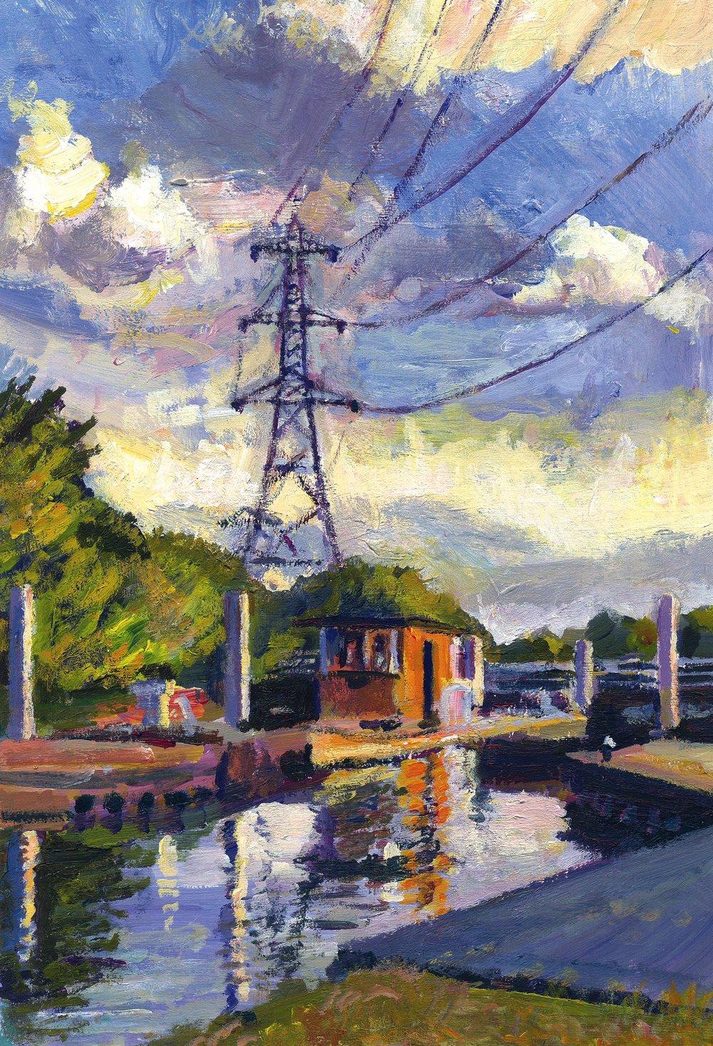 Stonebridge Lock 2012 acrylic on board 28 x 18 cm