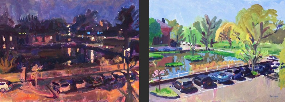 Kew Green, Night  &  Kew Green, Spring , acrylic on board