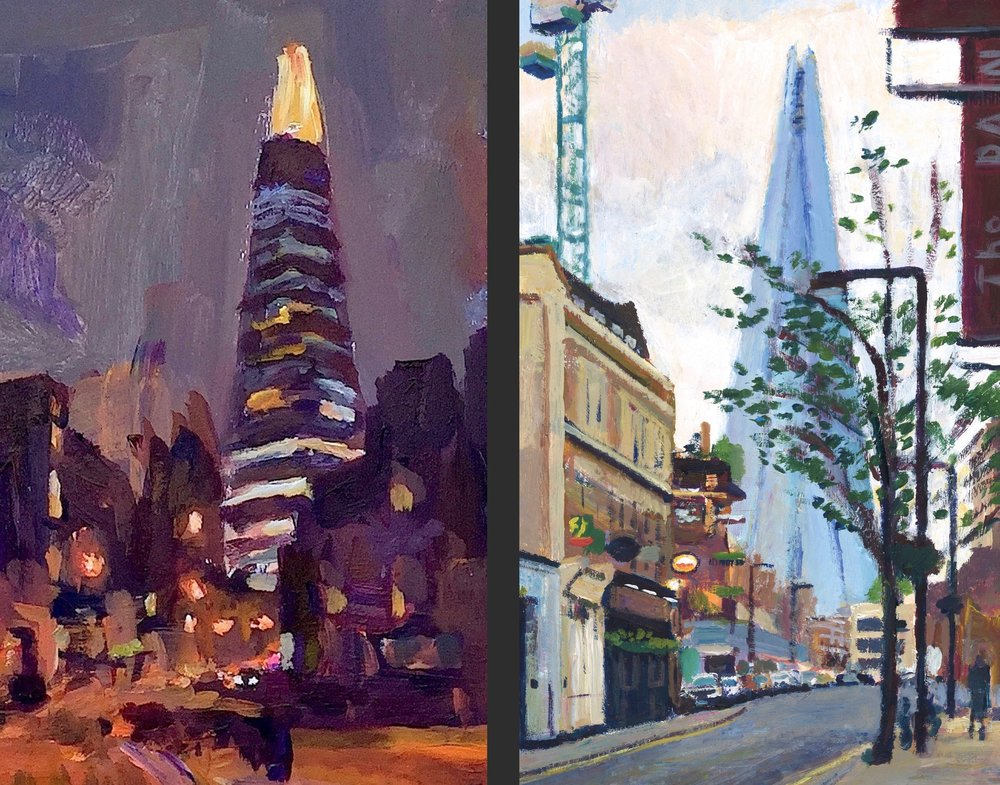 The Shard and Union Street, SE1  (detail) &  The Shard and Union Street, SE1  (detail), acrylic on board