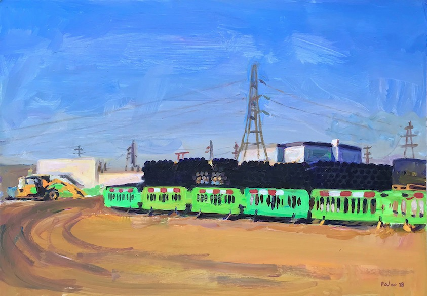 Construction time in Barking 2018, acrylic 50 x 70 cm