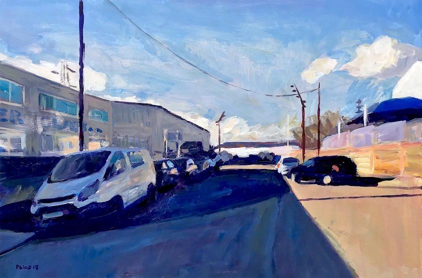 Long Reach Road IG11 II  2018 acrylic 46 x 69.5 cm