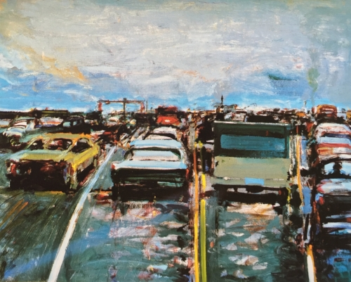 Wayne Thiebaud   Freeway Traffic 1983 oil on masonite 16 x 20 inches (Source:  artnet )