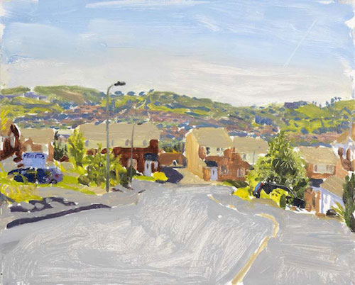Danny Markey   New Houses, Mountain and Vapour Trail  2009 oil on board 23.7 x 29.5 cm (Source:  Jackson's Art )