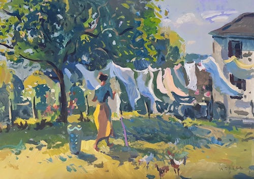 Andrew Tozer     Pegging out the Washing at Treliever Farm 2018 acrylic on board 22 x 31 inches (Source:  Andrew Tozer Fine Art )