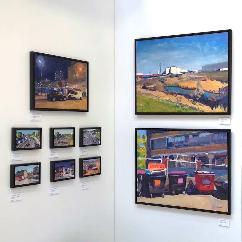 Section of my display wall at The Other Art Fair Bristol, showing three sizes of artwork