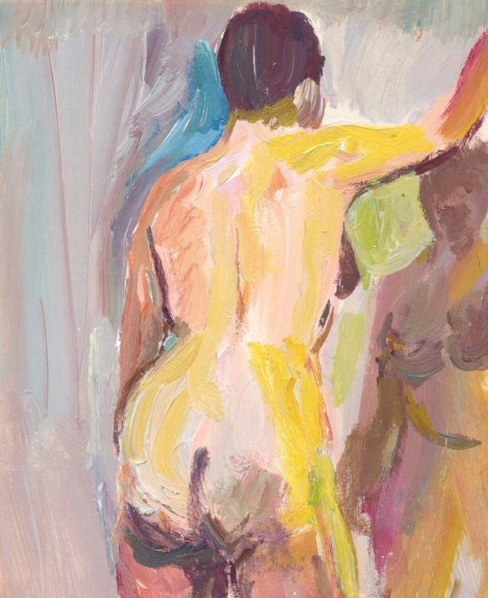 Standing nude with mirror  1998 acrylic on paper 7 x 5 inches