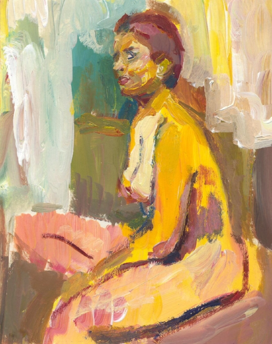 Sitting nude 1998  acrylic on paper 7 x 5 inches