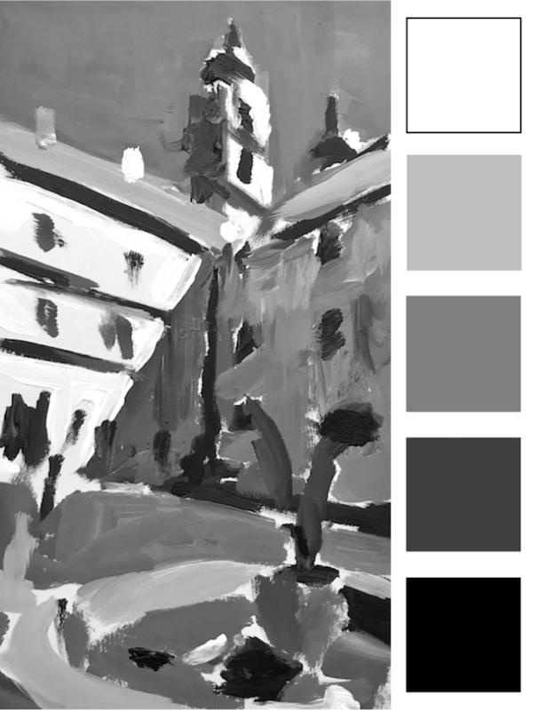 Figure 3:  A simple painted rendition based on Image 1, using black and white acrylic paint and five tonal shades form dark to light,.