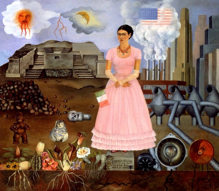 Frida Kahlo:   1932  Self-portrait on the Border between Mexico and the United States of America  (fridakahlo.org)