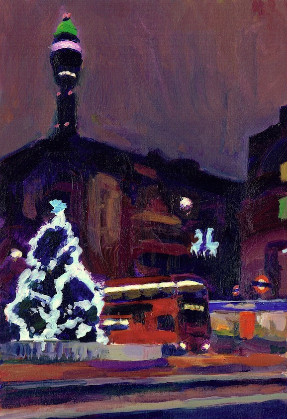 Christmas Tree at Warren Street Station , 2013 acrylic on board, 27 x 19 cm