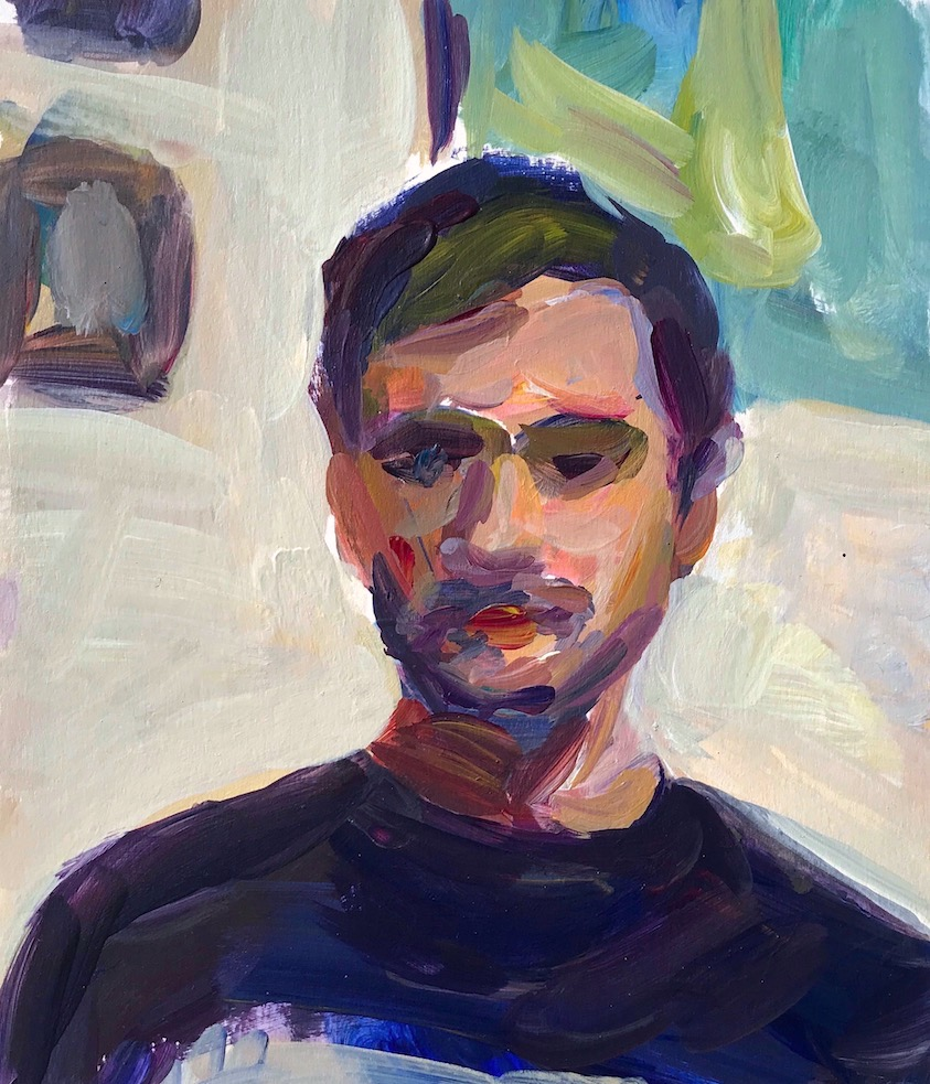 Self portrait study , 2019 acrylic 19.5 x 17 cm (7 x 6 inches)