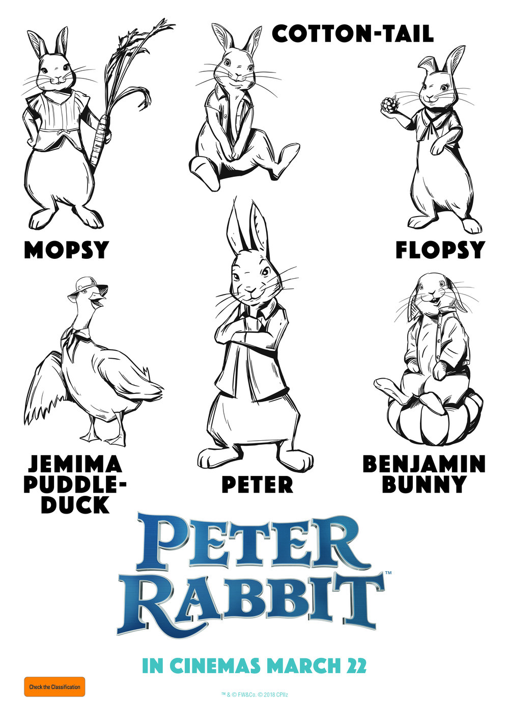 Peter Rabbit Characters - Free Colouring In Sheets for kids