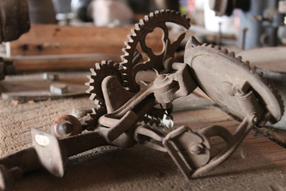 This apple peeler and corer can be found in our blacksmith's shop/tool shed.