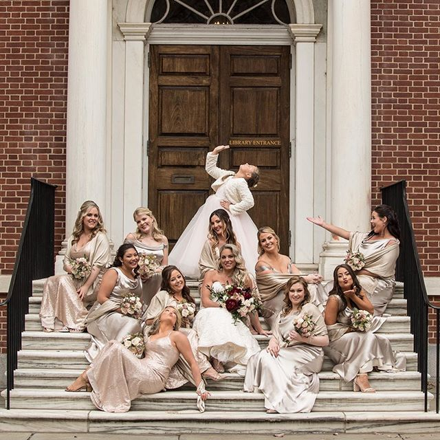 When your bridal party is on point and down to fiercely pose for the camera. Love this photo of Christine and her girls! Image Credit: @baronephoto