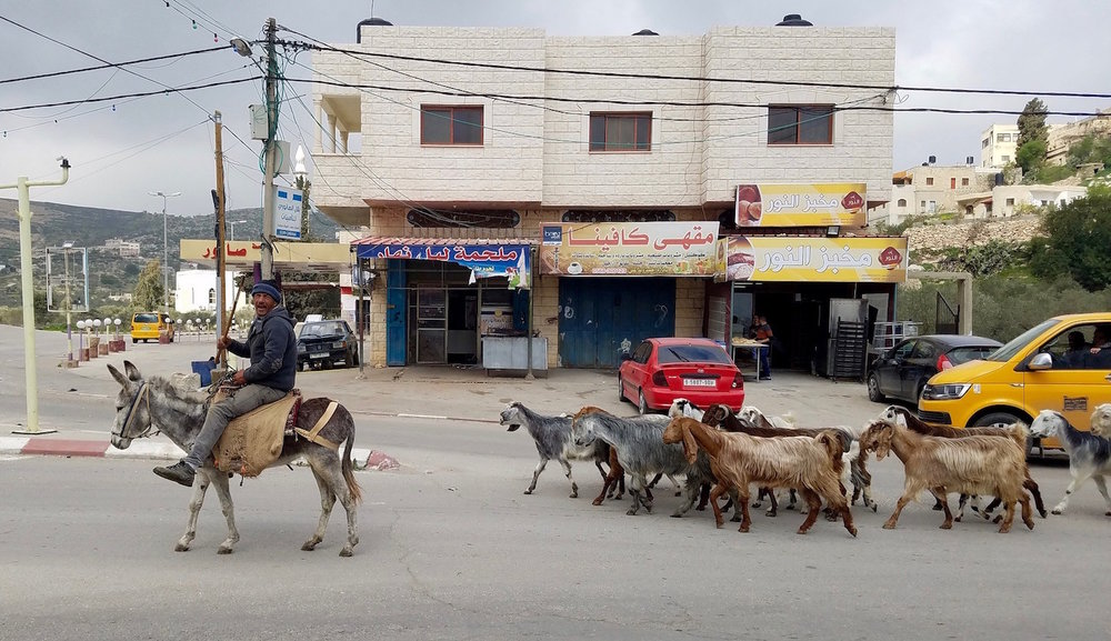 Traffic jam in the village of Sanur, in the north of the West Bank.