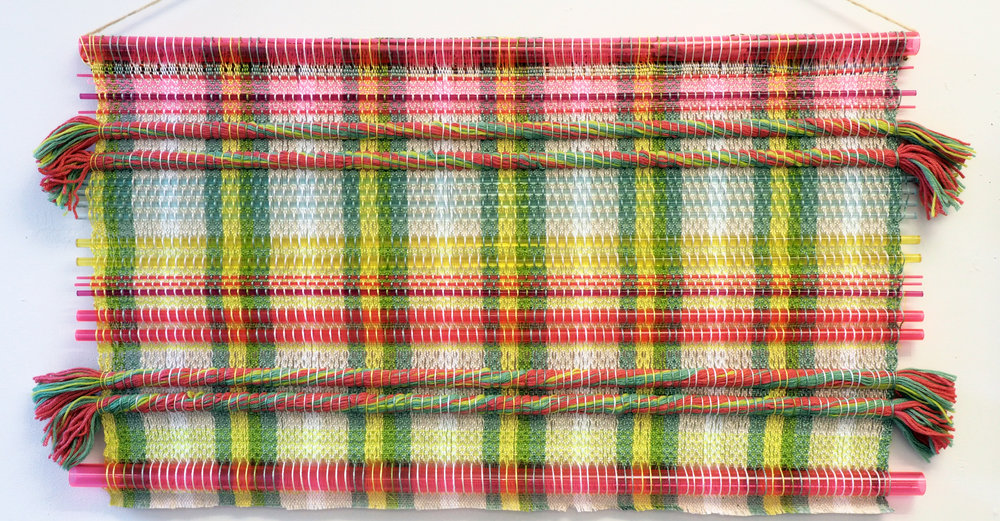 Handwoven tapestry- Glass, plastic, wool, and cotton.  21 x 36 in 2017