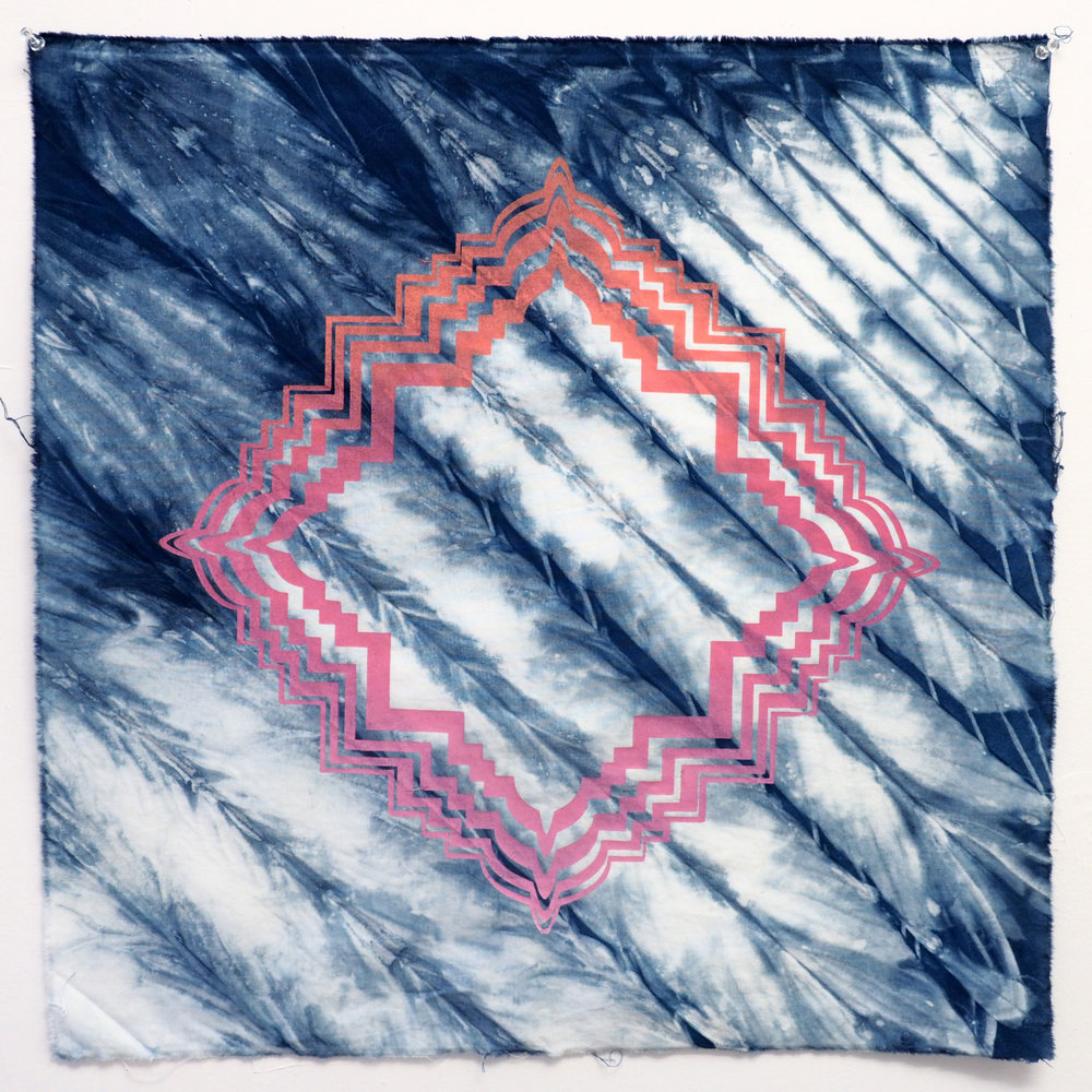 Borobudur Shibori   Indigo shibori and screenprint on cotton 22 x 21 in 2017