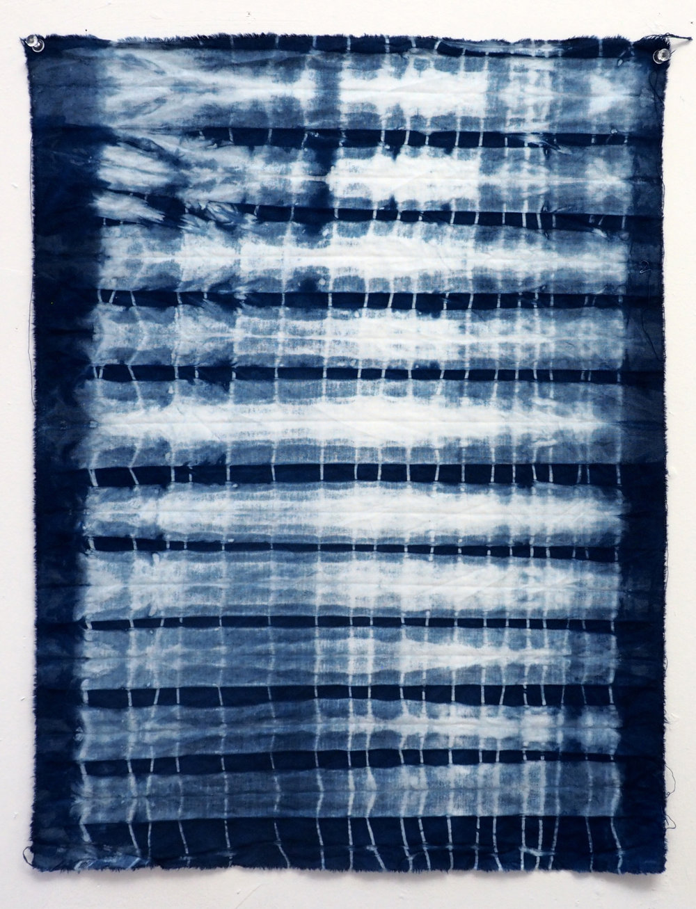 Indigo shibori on cotton 21 x 15.5 in 2017